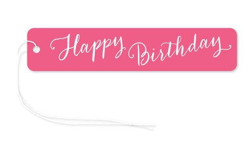 Gift Tag Pink Happy Birthday